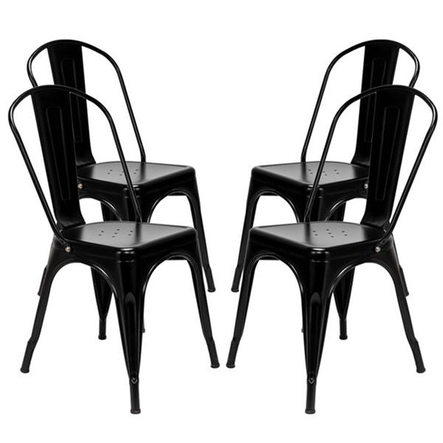 4pcs Industrial Style Iron Sheet Chair Black for Restaurants Pubs Cafes And Multiplayer Gatherings Dining chair 1