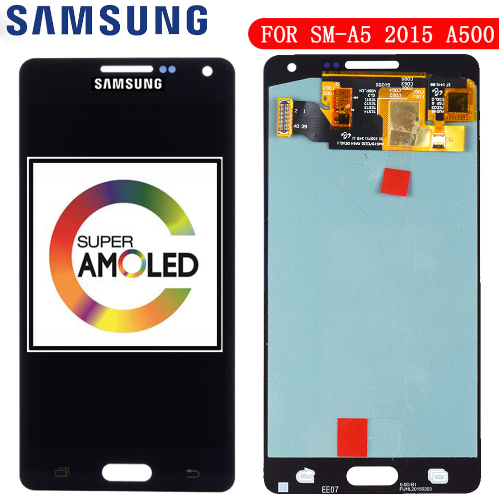Replacement Super AMOLED LCDs For <font><b>Samsung</b></font> Galaxy A5 2015 A500 A500F <font><b>A500FU</b></font> A500H A500M Phone LCD Display Touch Screen Digitizer image