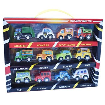 12 sets of mini-car toys small toy collectible model childrens cartoon pocket car 5cm kids gifts
