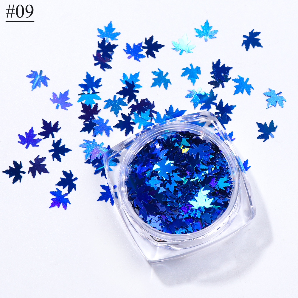 """1 коробка кленовые листья дизайн ногтей голографические блестки наклейки """"хамелеон"""" для ногтей осенний дизайн Декор SA1528 - Цвет: 09"""