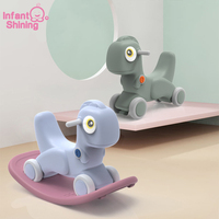 Infant Shining Rocking Horse Toys 2 5 Years Old Children Ride on Toys 2 in 1 Dinosaur Model Anti slip Rocking Horse Scooter