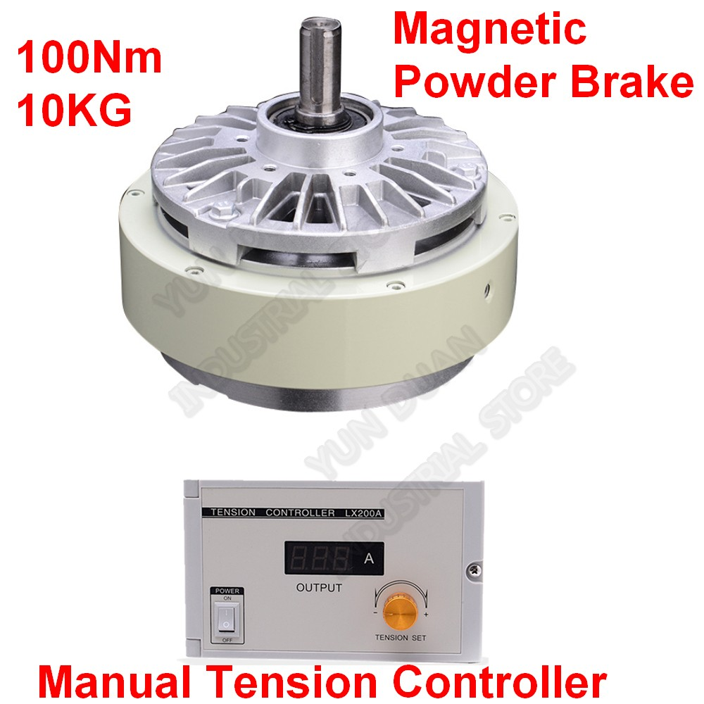 100Nm 10kg DC24V One Single Shaft  Magnetic Powder Brake & 3A Manual Tension Controller Kits For Bagging Printing Dyeing Machine