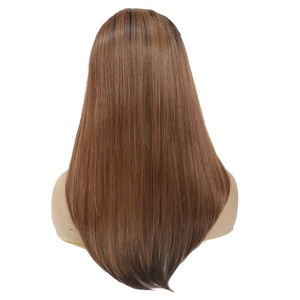 Image 3 - Long Straight Synthetic Lace Front Wigs For Black Women X TRESS Medium Brown Color Heat Resistant Fiber Hair Wig With Baby Hair