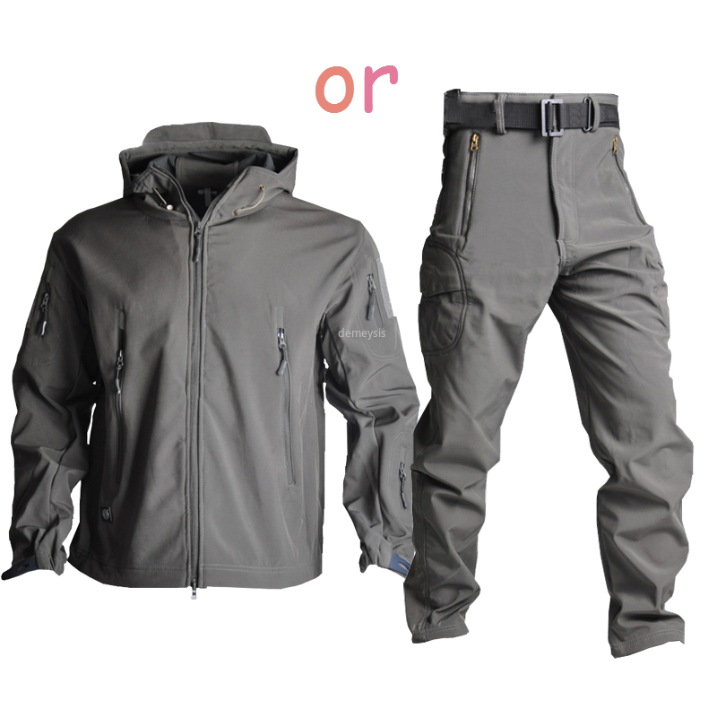 Military Tactical Jacket Waterproof Outerwear Pants Windproof Hunting Camouflage Softsell Jacket Combat Training Jackets Pants