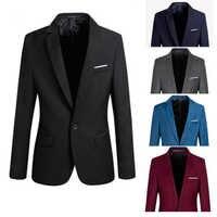 2019 degli uomini di S-4XL Formale Slim Fit Formale Un Tasto Vestito Manica Lunga Intaglio Blazer Miscela Del Cotone del Rivestimento del Cappotto Top