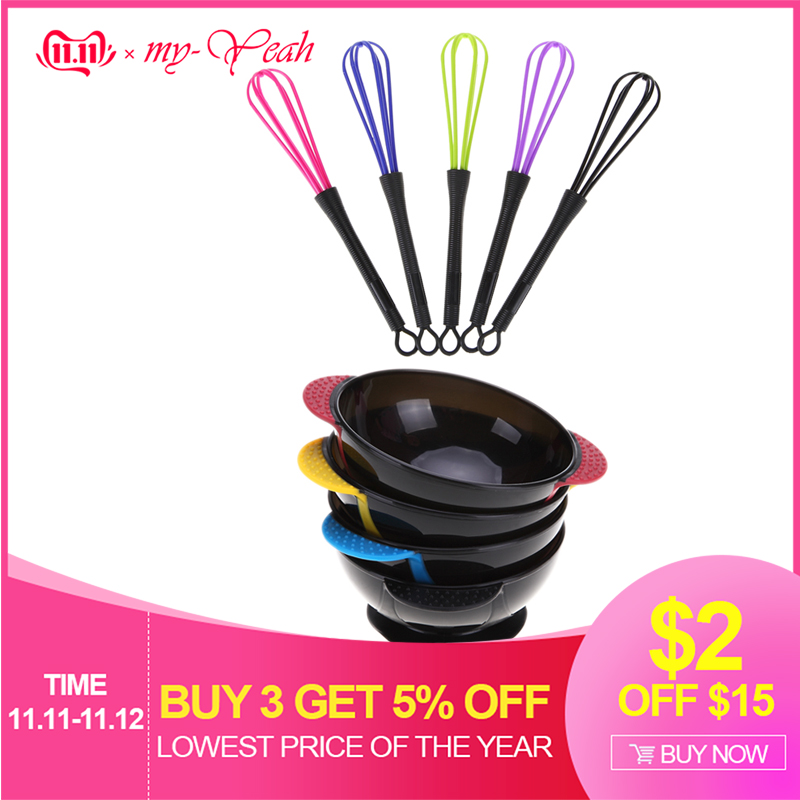 Hair Dyeing Bowl + Mixing Paint Stirrer Pro Salon Hair Coloring Dye Mixer Tint Bowls Stirrer Blender Styling Tool