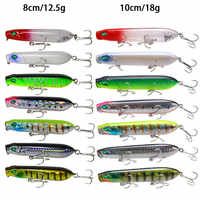 1PC Topwater Popper Fishing Lure 80mm 12.5g 100mm 18g  Hard Bait Floating Lure Fishing Baits Wobblers Long Casting Fishing