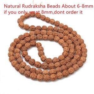 Image 2 - جديد وصول الطبيعية Rudraksha اليابان مالا 108 حبة الهندوسية الصلاة التأمل البوذية لممارسة التأمل سوار مجوهرات هدية