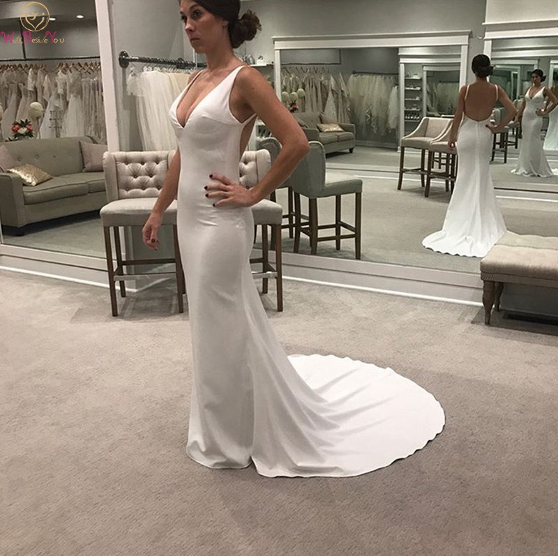 2019 Simple Mermaid Wedding Dresses Sexy Deep V Neck Sleeveless Boho Bridal Gowns White Ivory Backless Satin Vestidos De Noiva in Wedding Dresses from Weddings Events