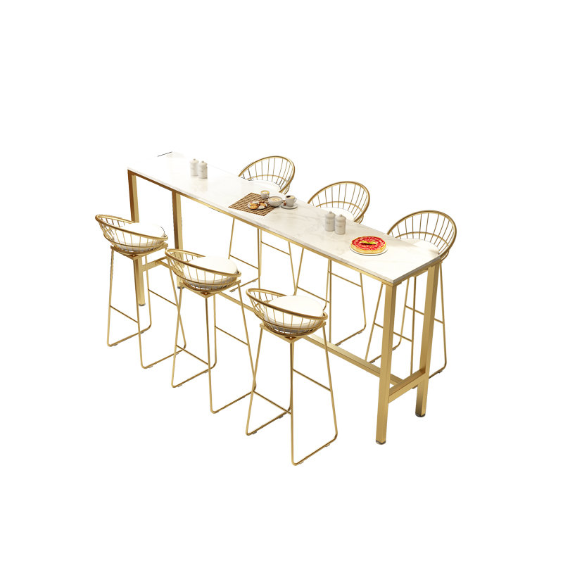 Nordic Marble Bar Table And Chair Home Modern Simple High Foot Table Against Wall Milk Tea Shop Bar Table And Chair Combination