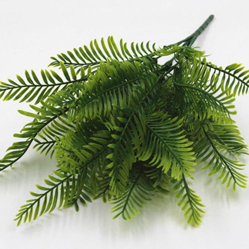 7 Fork Green Plant Artificial Green Grass Leaves Fake Flowers for Home Garden Plants Wedding Decoration Office Hotel Table Decor