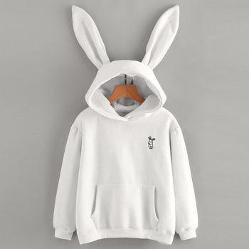 Autumn Winter Cartoon Rabbit Ear Long Sleeve Hoodies Women Girls Hooded Sweatshirts Pullover Coat Female Lovely Bunny Hoodies 10