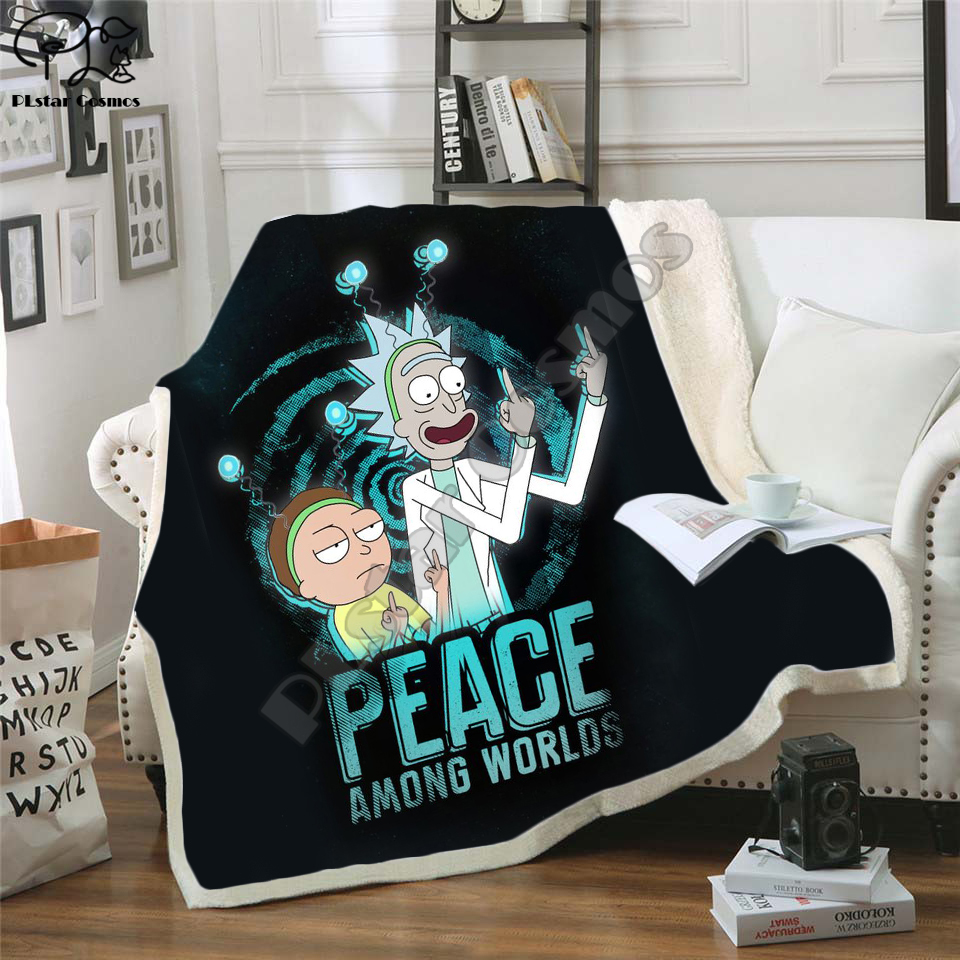 Plstar Cosmos Cartoon Rick and Morty funny Fleece Blanket 3D printed Sherpa Blanket on Bed Home Textiles Dreamlike style-5