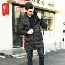 2019 Winter long down jacket coat men hooded Slim Europe lon