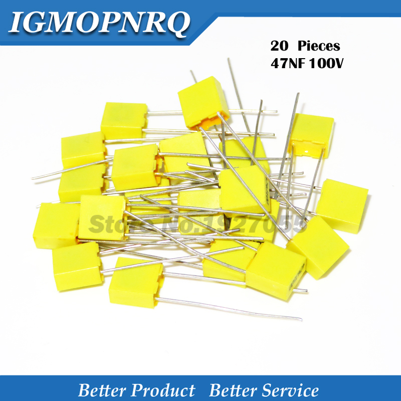 20PCS Correction Capacitor 47NF 473J 100V 5mm Polypropylene Safety Plastic Film Capacitor New
