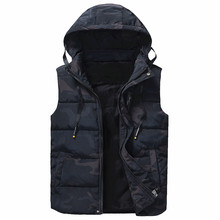 8XL Men Winter Casual Outerwear Camouflage Warm Hood Jacket Vest WaistCoat Men Sleeveless Waterproof Jackets Parkas Vests Men(China)
