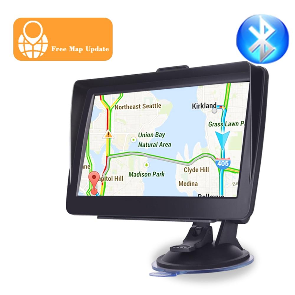 Car GPS navigator 7 inch HD lincoln navigutorFM Bluetooth voice car alarm car navigation with sunshade clip 256MB latest Europe Vehicle GPS     - title=