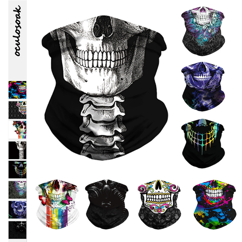 New Explosion Skull Digital Printing Outdoor  Sports Mountaineering Insect-proof Sunshade Capless Magic Turban