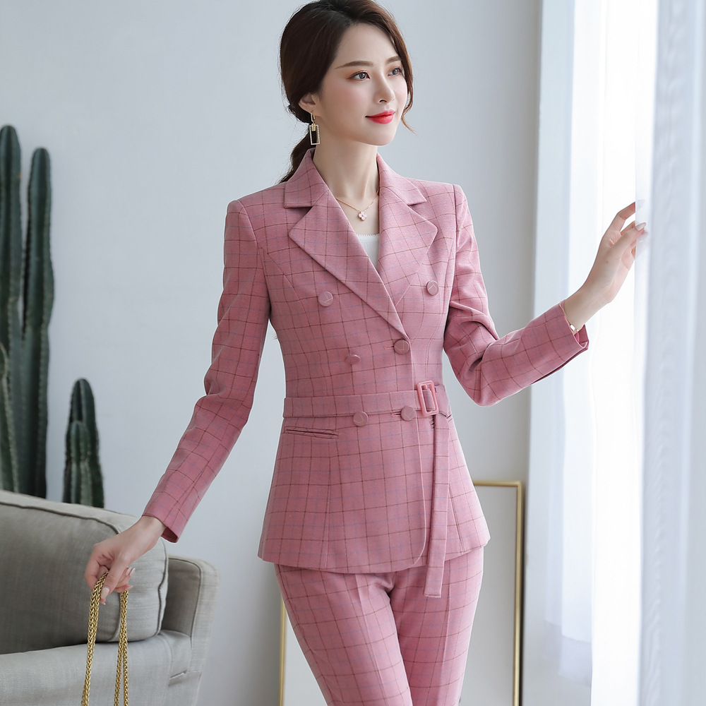 Ladies Suit Pant Suit Pink Khaki Plaid Full Sleeve Double Breasted Jacket+Long Trousers 2 Piece Set Hotel Work Clothes 80322