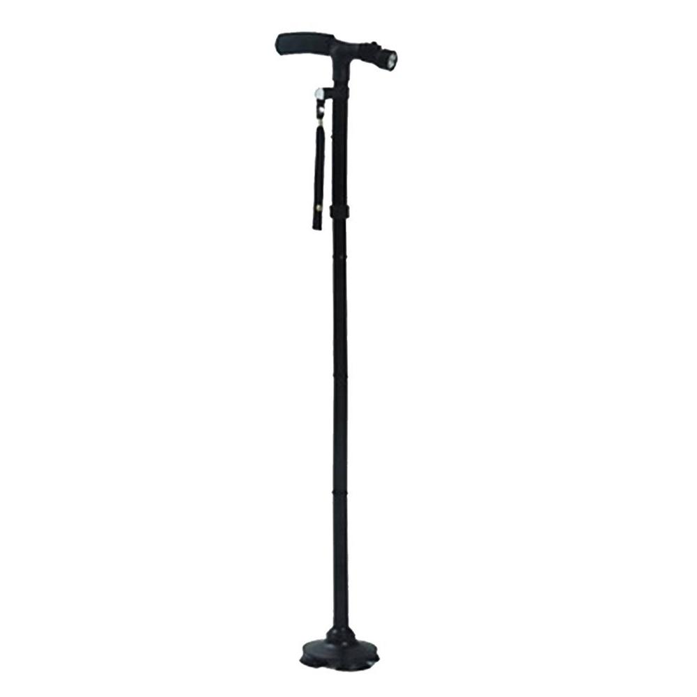 Magic Cane Folding With LED Light Safety Walking Stick 4 Head Pivoting Trusty Base For Old Man T Handlebar Trekking Poles