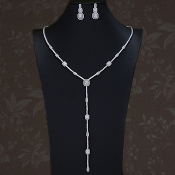 missvikki NEW Long Sexy Pendant Earrings Necklace Jewelry Set for Bridal Wedding Luxury Super Sweet CZ Fashion Accessories 2020