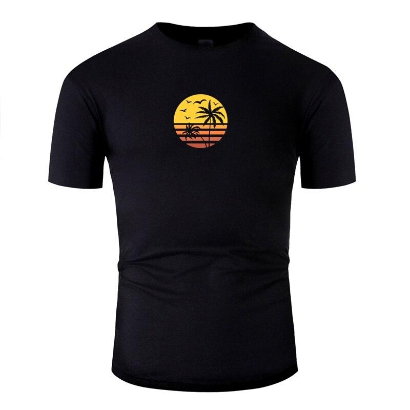 printed palm tree beach sunset retro and vintage design tshirt men Crew Neck male cotton adult tee shirt hip hop