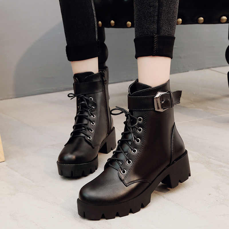 Autumn New Buckle Motorcycle Boots Women British Style Ankle Boots Lace up Low Heel ankle Boot Winter Women Shoe Plus Size