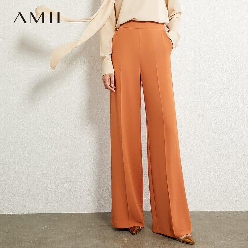 AMII Minimalismus Herbst OLstyle Fashion Solid Lose Breite Bein Frauen Hosen Kausalen Hohe Taille Weibliche Lange hose 12030242