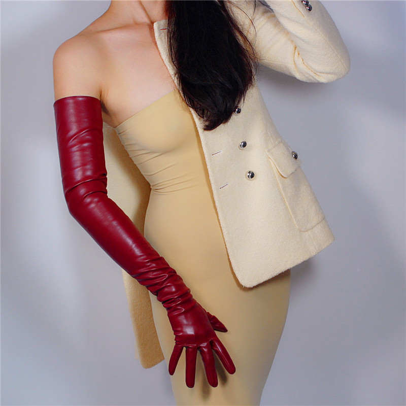 Extra Long Leather Gloves 70cm Long Section Emulation Leather Imitation Sheepskin PU Dark Wine Red Dark Red Female WPU128