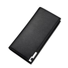 Классические черные кожаные мужские кошельки Роскошные Бизнес Кредитные карты длинный кошелек