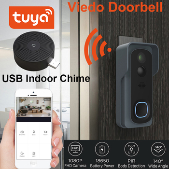 Tuya Wireless WiFi 1080P Video Doorbell with Battery Chime Cloud Storage Support WiFi Security Door Bell Home Security Monitor