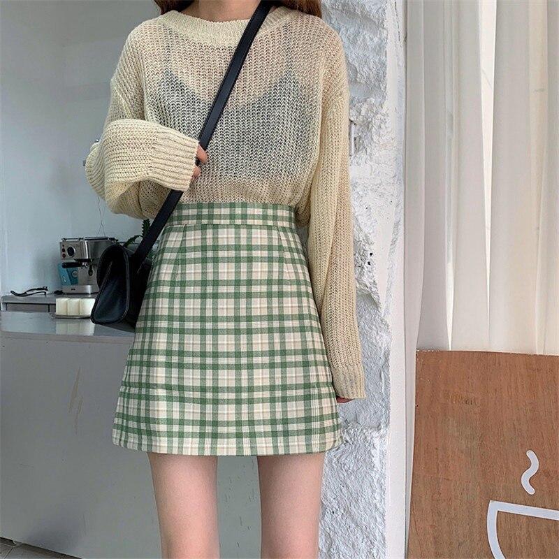 Women\\'s Skirt Fashion New Plaid Skirt High Waist Skirts Womens Slim Temperament A Line Skirt College Style Faldas Mujer 2020