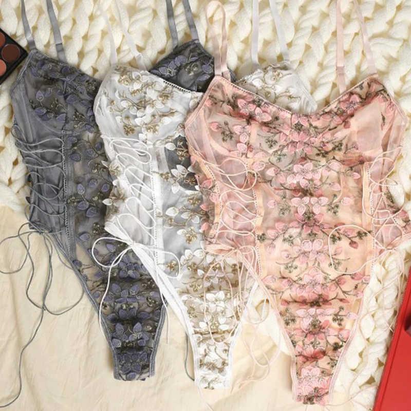 Vrouwen Teddy Lingerie Sexy Ondergoed Erotische Corset Lace Mesh Nachtkleding Nachtkleding Geborduurde Riem Een Stuk Sexy Pyjama