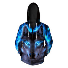 Модная 3d Толстовка с капюшоном на молнии принтом синего пламени