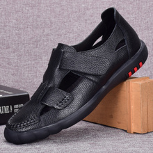 Vintage Men's Genuine Leather Shoes2019 Summer New Hollowed-out Ventilate Sandals Hook Loop Beach