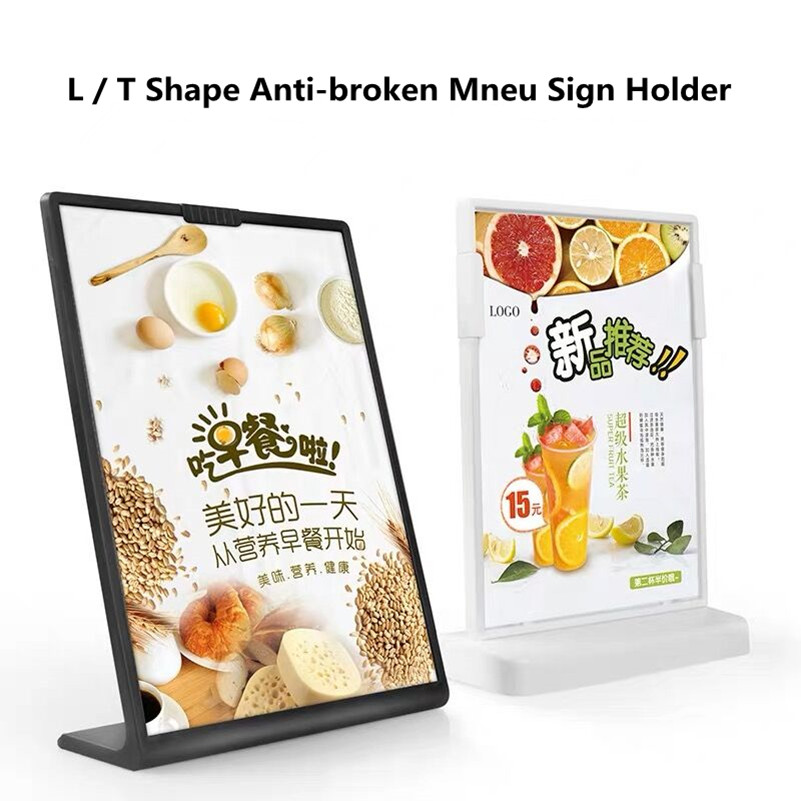 A5 L And T Shape Tabletop Acrylic Menu Sign Holder Promotion Products Counter Leaflet Flyer Poster Holder Display Stands Frame