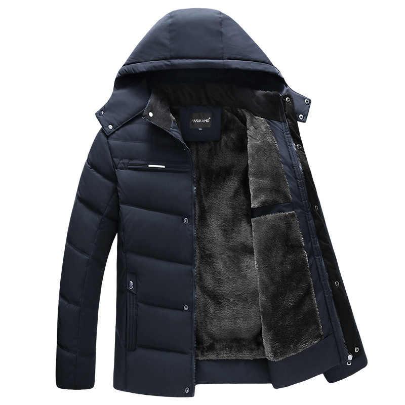 עבה חם חורף מעיל גברים סלעית מקרית Mens Parka מעיל מוצק התיכון-בני זכר מעיל אב מתנה להאריך ימים יותר