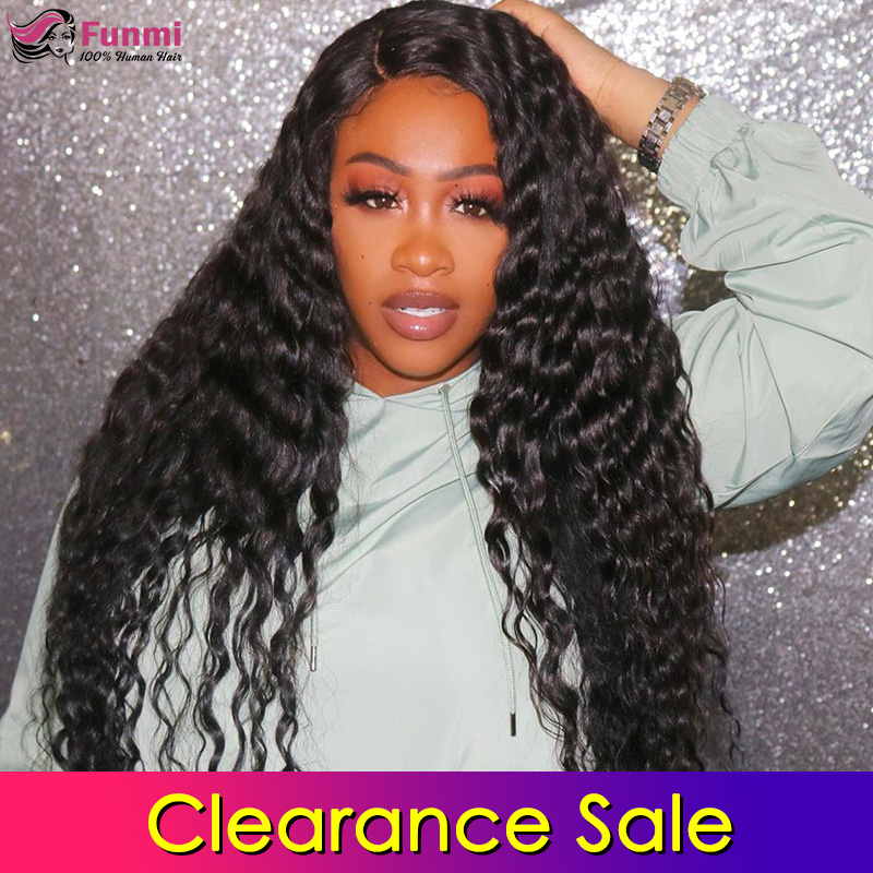 Clearance Sale 4x4 Lace Closure Wigs Human Hair Malaysian Deep Wave Lace Wigs For Black Women Pre Plucked With Baby Hair Funmi