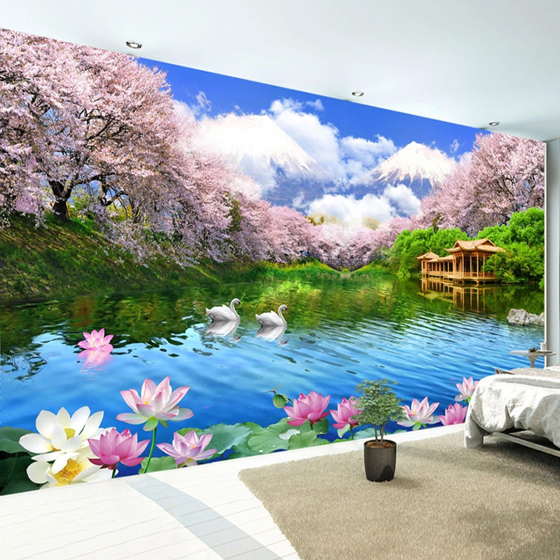 Photo Wallpaper 3D Cherry Blossom Swan Lake Landscape Murals Living Room TV Sofa Bedroom Background Wall Decor Papel De Parede