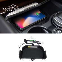 Car QI wireless fast charging for BMW  f10 f11 auto center console  armrest phone charger case for IPhone 11 XS XR X 8 car wireless fast charger console storage panel auto interior door charging panel for mobile phone for toyota for camry 8th 2018