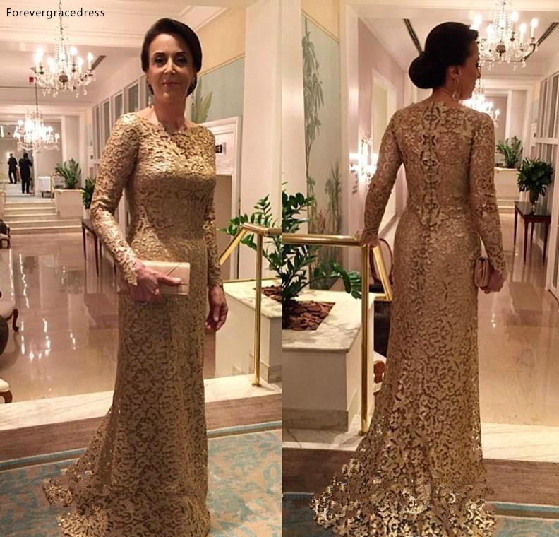 Elegant Lace Mother Of The Bride Dresses Long Sleeve Formal Women Wear Evening Wedding Party Guests Dress Plus Size