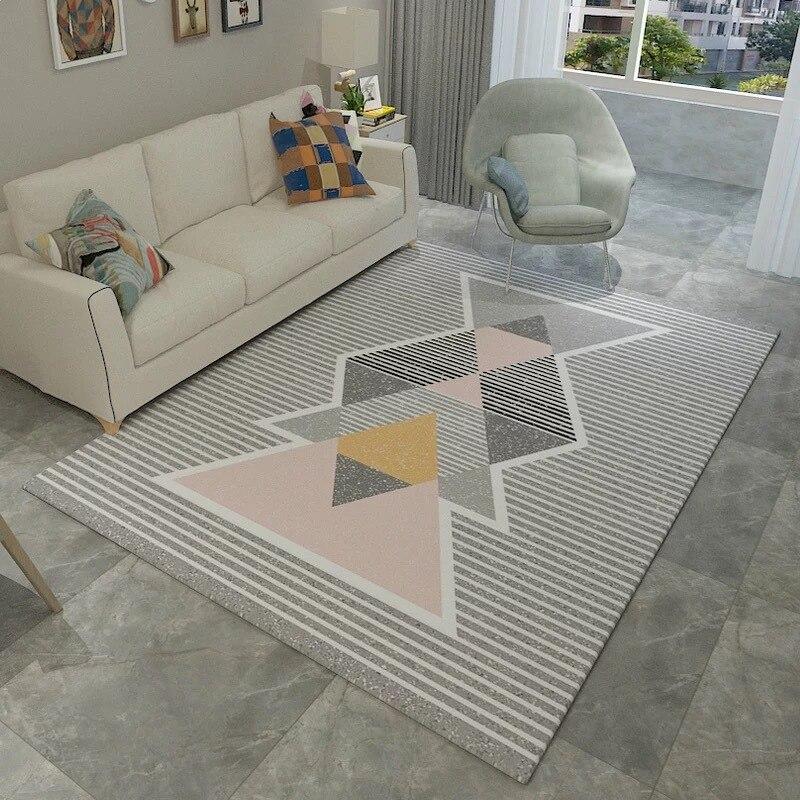 Image 2 - Нордический современный ковёр коврик для гостиной абстрактный геометрический деревянный пол ковер противообрастающий ковер для спальни гостиной Заводская поставка-in Ковер from Дом и животные