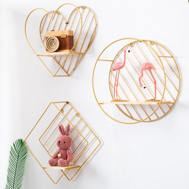 Nordic Style Iron Rhombic Round Heart Shaped Grid Wall Shelf Hanging Decorative Rack Storage Holder Figure Living Room Decor 1PC