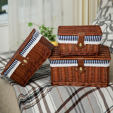 Creative bamboo woven storage basket with lid lock clothes sundries toy box organizer wicker material