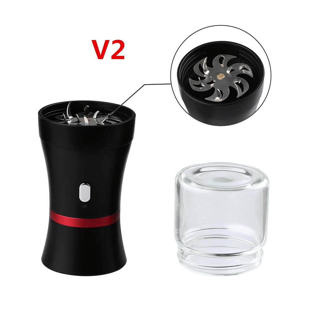 Newest Portable Electric Tobacco Grinder V2 For Smoking Herb Weed Tool 1100mAh Battery Button & Child Lock Protection Electronic