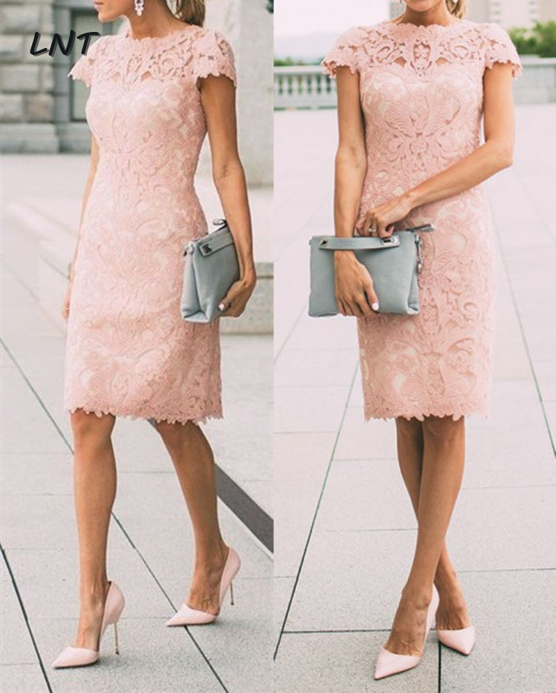 Cap Sleeves Blush Pink Lace Semi Formal Dress Party Dress