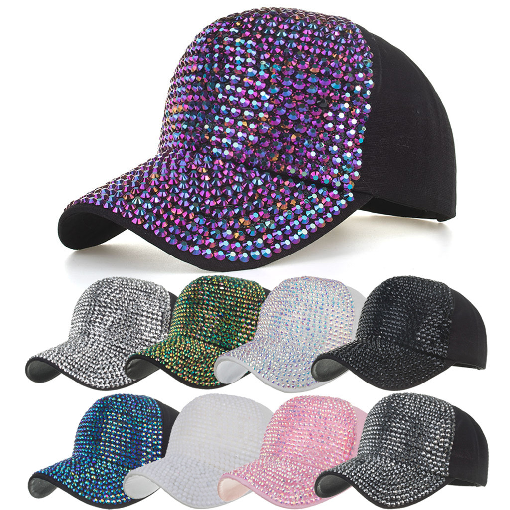 Men Women Baseball Caps Fashion Adjustable Cotton Cap Star Rhinestone Cap Outdoor Sun Hat Adjustable Sports caps in summer#T2 1