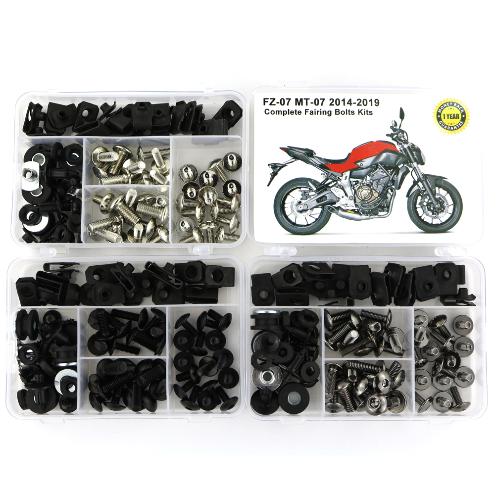 For Yamaha MT07 MT-07 FZ07 2014-2019 Complete Full Fairing Bolts Kit Steel Side Covering Bolts Screws Speed Nuts Fairing Clips