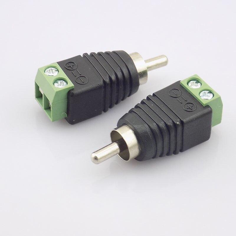 10pcs CCTV Coax Cat5  RCA Male Connector Coax AV Plug Adapter BNC UTP Video Balun Connector RCA Adapter Plug N11