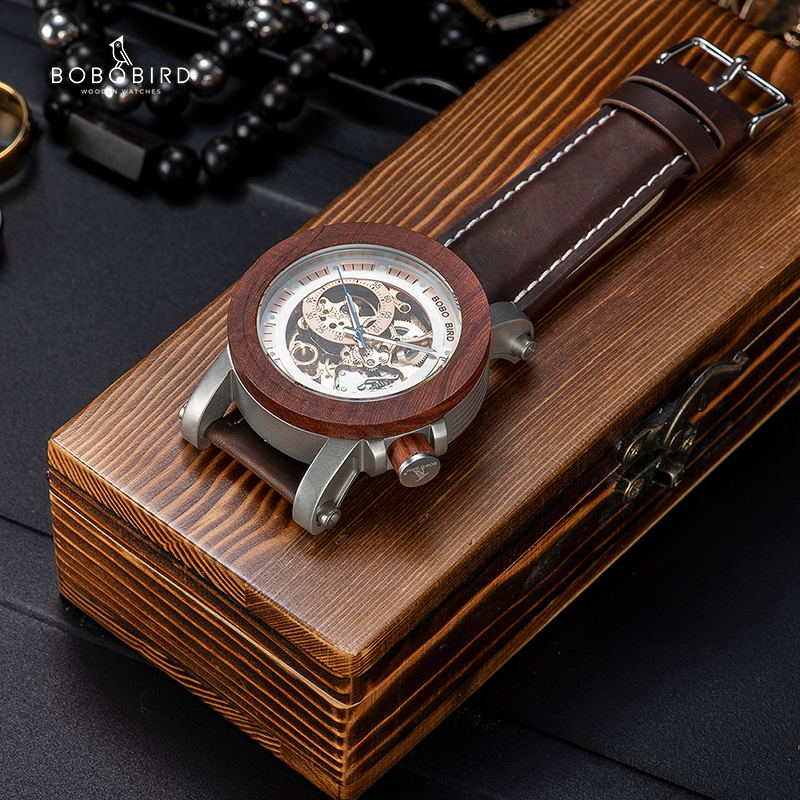 Image 4 - BOBO BIRD Brand Men Watches Red Wooden Gear Mechanical Watch Genuine Leather Strap Wristwatch relogio masculino Christmas Gift-in Mechanical Watches from Watches
